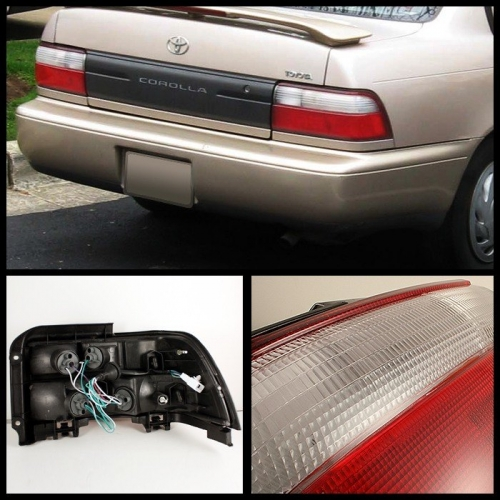 Spyder toyota corolla tail lights red clear taillights